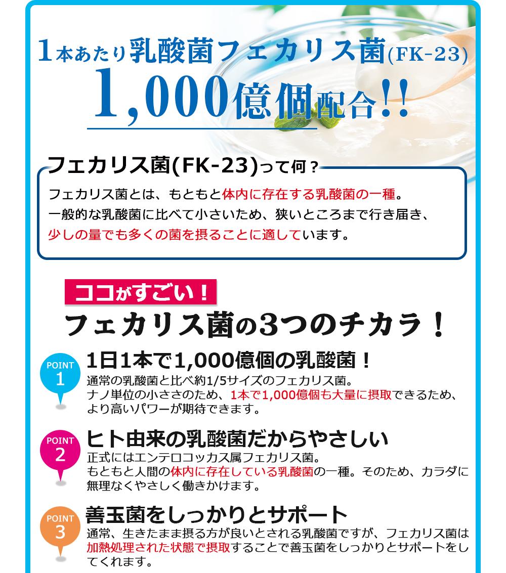 1本あたり乳酸菌フェカリス菌(FK-23)1000億個配合!!